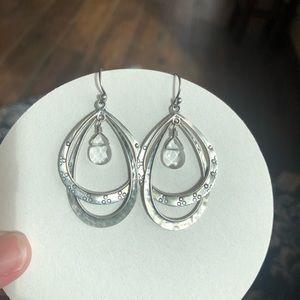 Silpada Sterling Silver Double Hoop Glass Earrings
